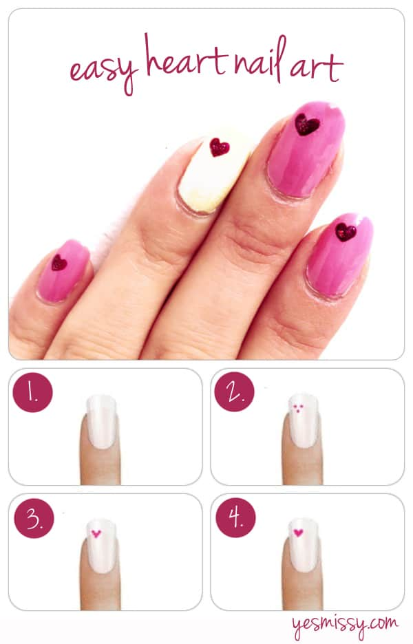 Diy how to create heart nail designs nail diy how to create heart nail designs prinsesfo Image collections