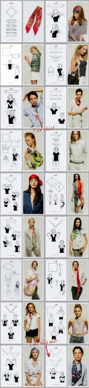 Creative ways to wear a scarf by Hermes