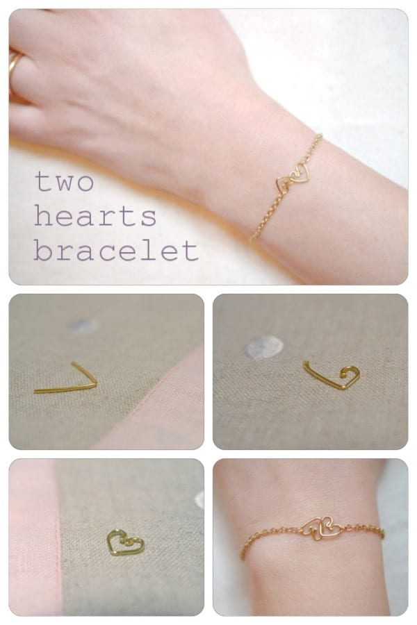Jewelry DIY: 2 hearts bracelet