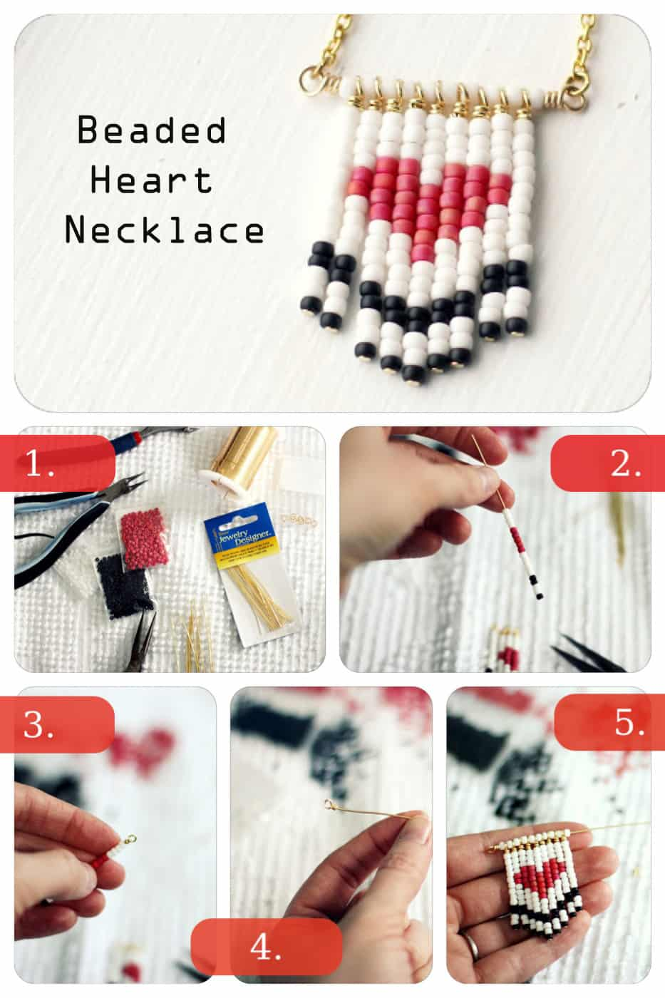 Jewelry DIY: Heart Beaded Necklace