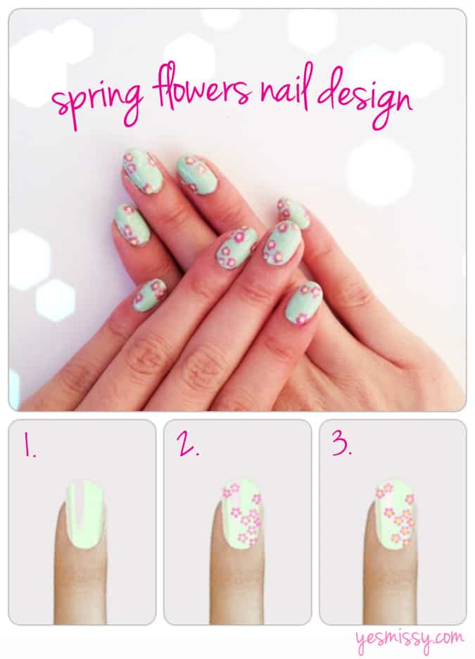 Spring flowers nail design