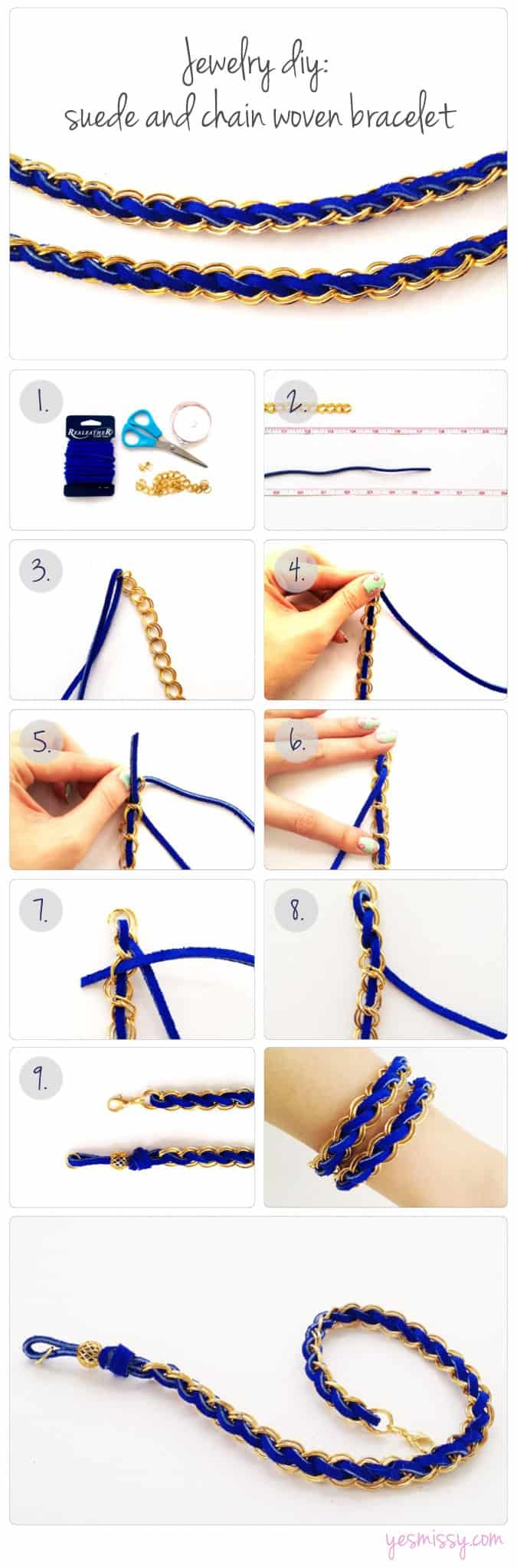 Jewelry DIY: Chain and Suede Woven Bracelet DIY part 2