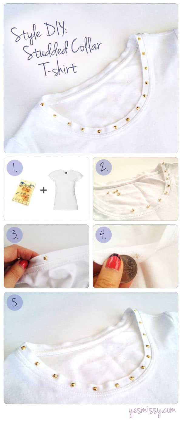 Style DIY: Studded Collar White T-shirt