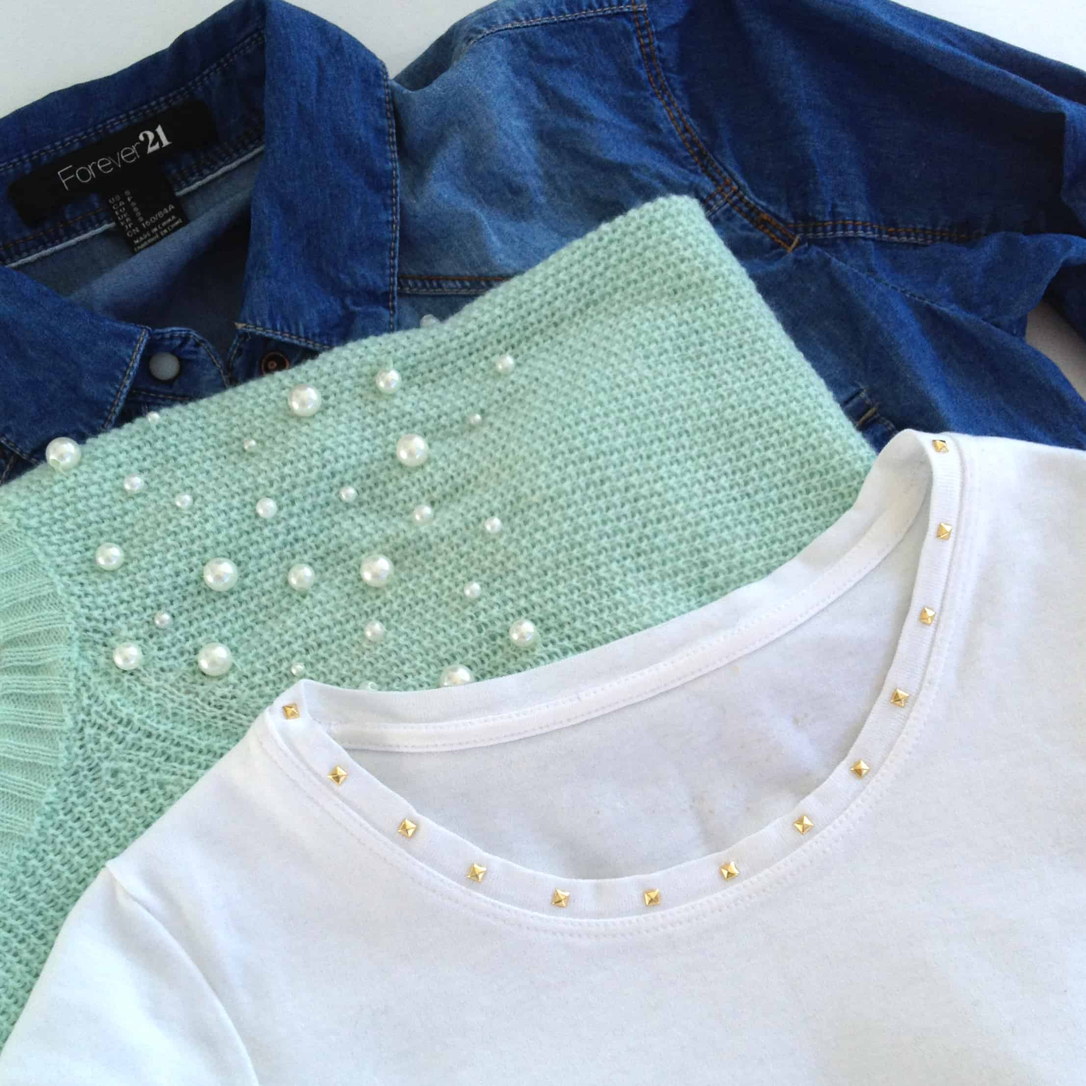 DIY Studded Collar T-shirt