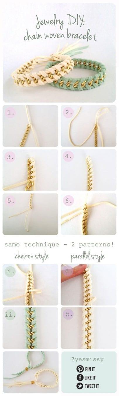 Jewelry DIY: Chain Woven Bracelet Tutorial