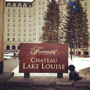 Chloe at the Fairmont Chateau Lake Louise - Canadian road trip