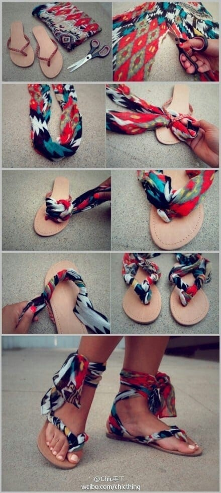 DIY summer scarf sandal makeover