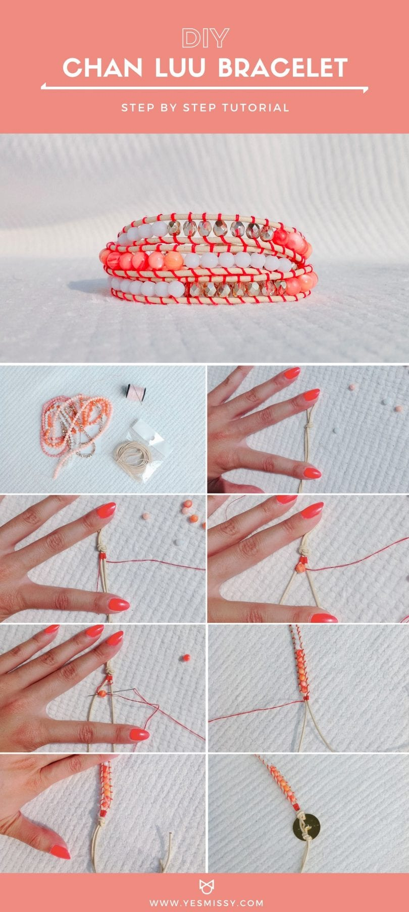 DIY Chan Luu bracelet tutorial with step-by-step instructions using leather cord, glass beads, and thread.. by YESMISSY