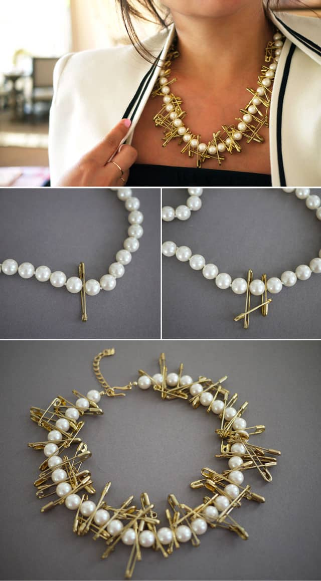 Best DIY Blogs - Pearl & Safety Pin Necklace