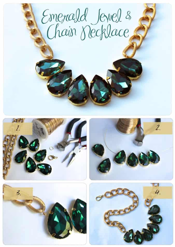 Favorite DIY - Emerald Jewel and Chain Necklace