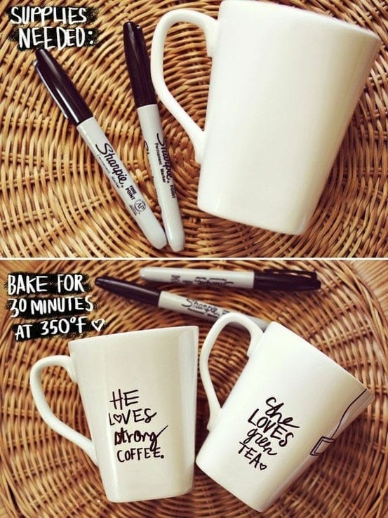 Sharpie Mug DIY Project - Thiis the perfect DIY gift idea! It Doesn't Get Any Easier Than This DIY Sharpie Mug.