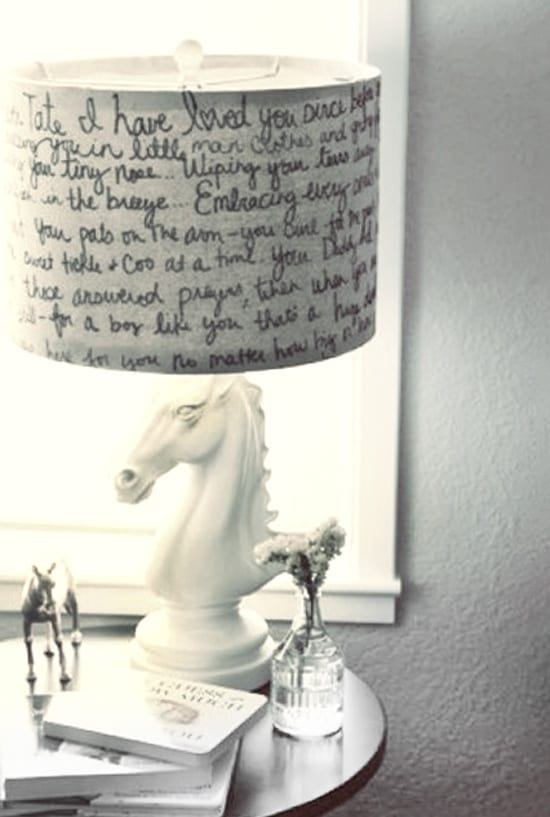 DIY Home Decor - Give your lampshade a personal touch - love this handwritten sharpie lamp