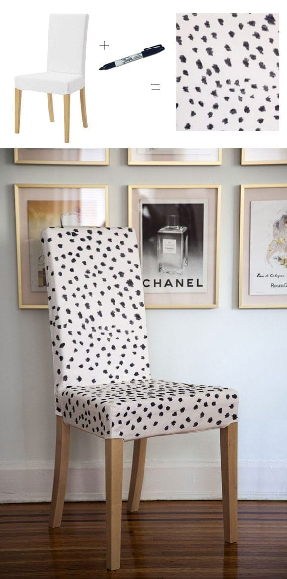 Decorating your home with Sharpies - like this cute DIY chair cover in leopard print