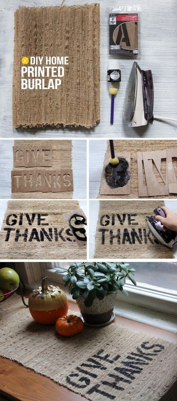 25 Easy Sharpie Crafts - DIY custom burlap table runner
