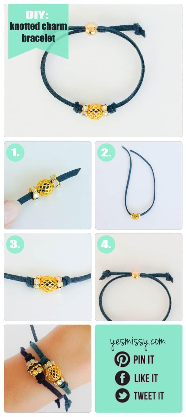 DIY Bracelets - Knotted Charm Bracelet