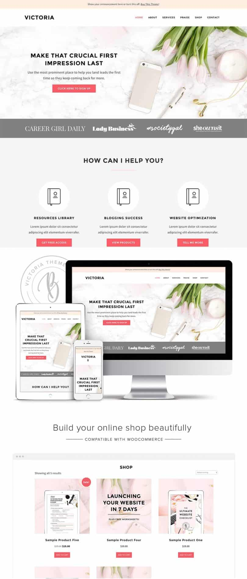 Best feminine WordPress themes for bloggers, entrepreneurs, commerce and more