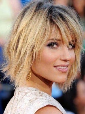 Dianna Agron with sexy layered hair cut