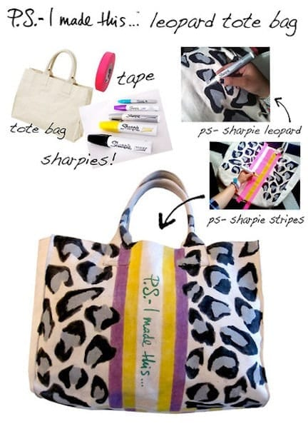 DIY fashion - Sharpie Leopard tote bag