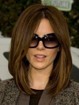 Kate Beckinsale with Sleek Long Bob Hair Style