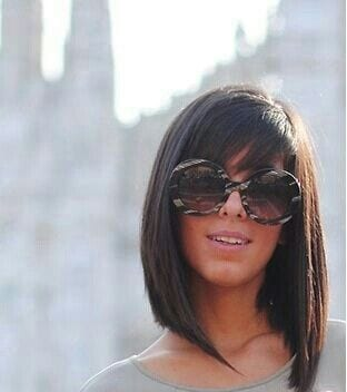 Sleek Long Bob Cut with Bangs