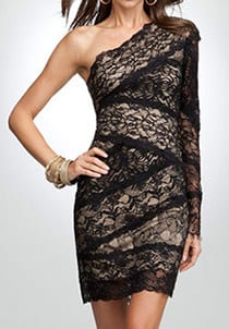 Holiday Party Dresses Under $100 - Bebe lace one shoulder dress