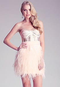 Party Dresses Under $200 - Isis Feathered Dress Bebe