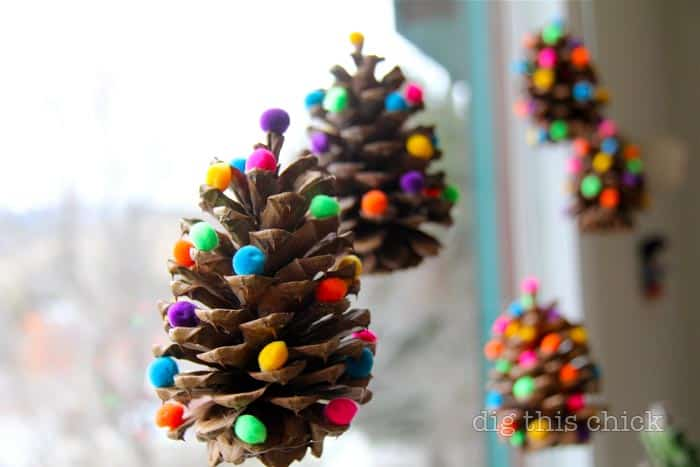 easy diy christmas ornaments cute pom pom pine cones