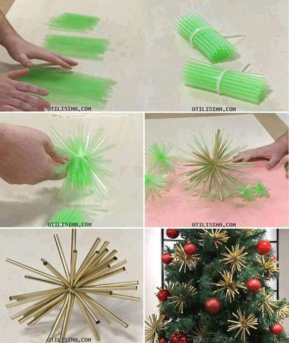 Easy DIY Christmas Ornaments   Plastic Straw Ornament! Cute!