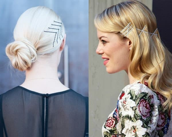 Geometric design bobby pin hairstyles