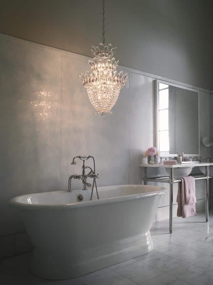 bathroom inspiration with chandeliers for lighting and decor.
