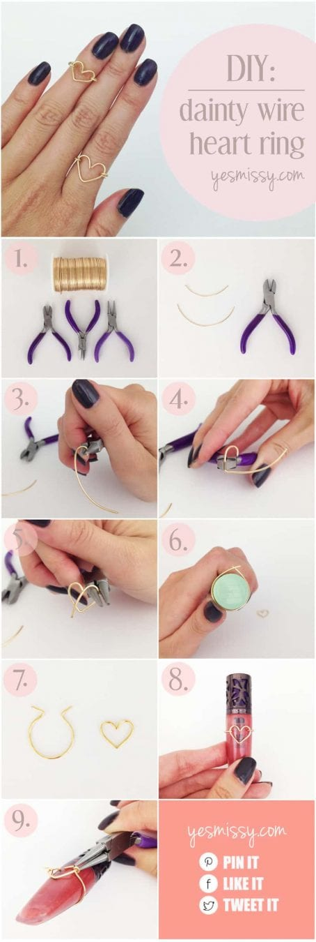 diy wire heart ring tutorial step by step instructions