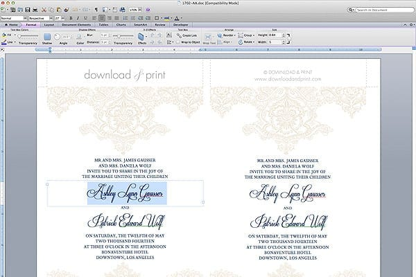 Free Template Lace Pearls Wedding Invitation Set Yes Missy – Free Wedding Templates for Word
