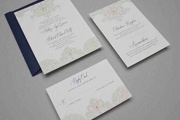 Ready To Print Wedding Invitations: Free Template: Lace & Pearls Wedding Invitation Set