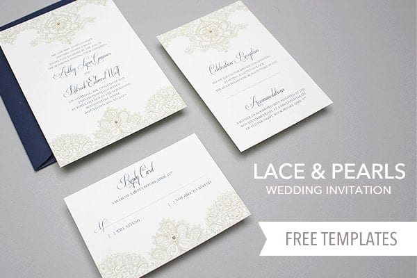 free template lace pearls wedding invitation set