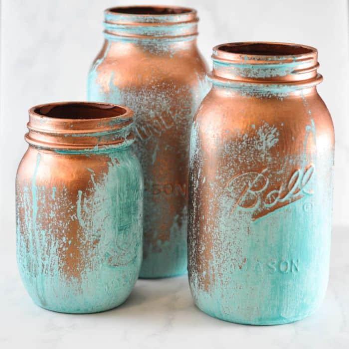 20 Creative Mason Jar Crafts - Decorative Blue Patina Jars