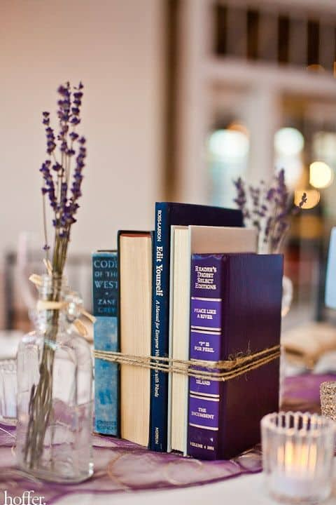 DIY bundled book centerpieces