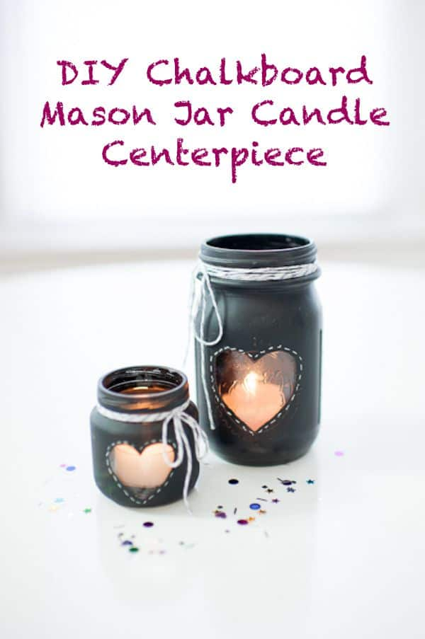20 DIY mason jar crafts - Chalkboard mason jar candle holders