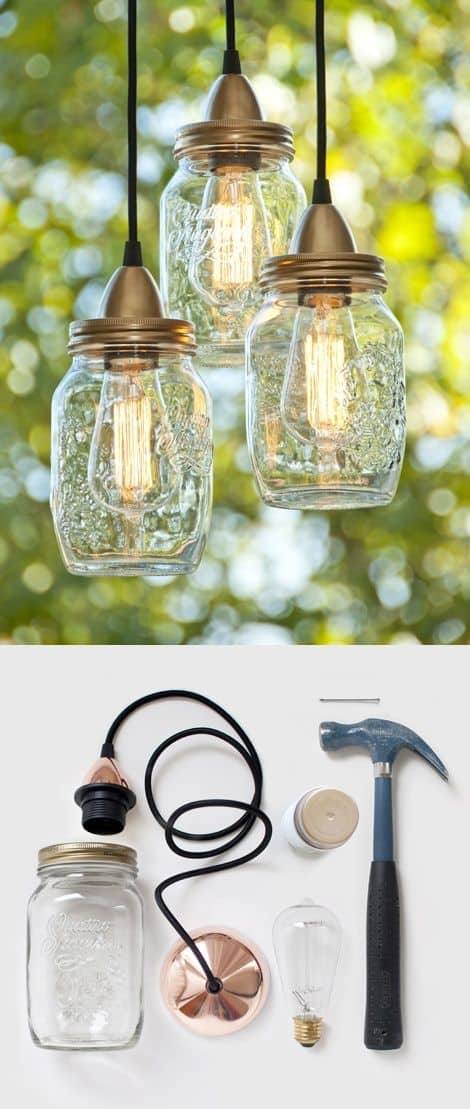 20 Mason Jar Crafts - DIY hanging lights