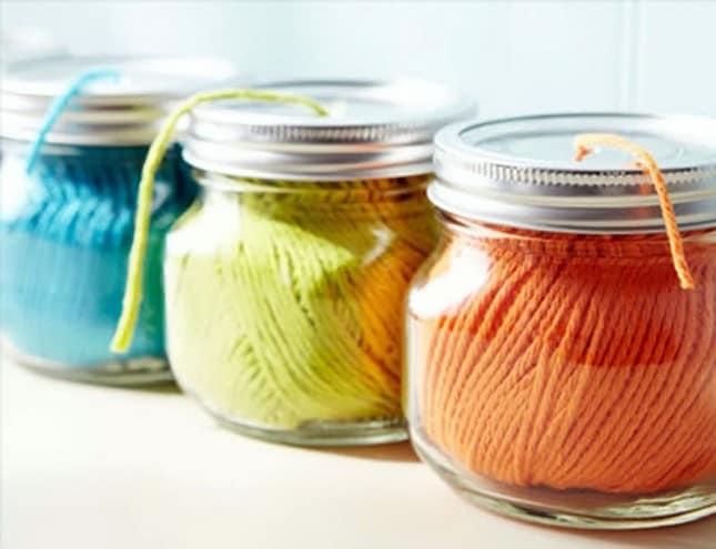 20 Useful Mason Jar Ideas - Yarn dispenser