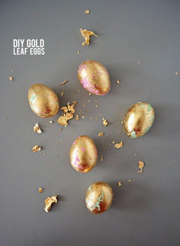 15 Easter Egg Decorating Ideas - DIY gold leaf eggs
