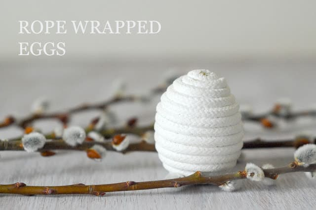 My take on rope wrapped Easter eggs. No glue gun required.