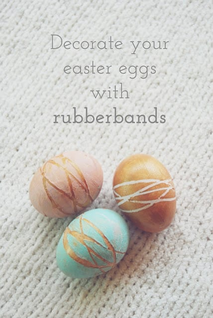 15 Easter Egg Decorating Ideas - Use Rubber bands to create an abstract pattern