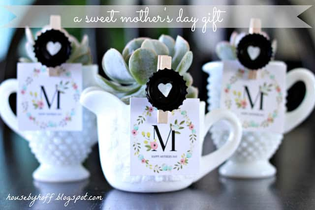 DIY Mill Glass Succulent.  What a sweet little Mother's Day gift idea!