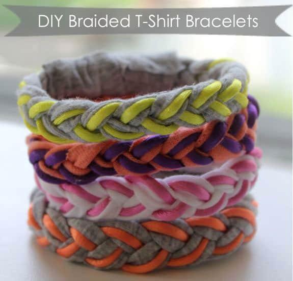 Make these DIY braided tshirt bracelets