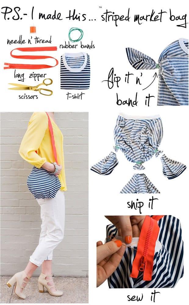 Make a striped t-shirt into a cute market bag!