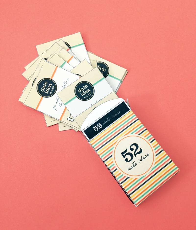 DIY 52 Date Night Ideas Card Deck - Free printable!!