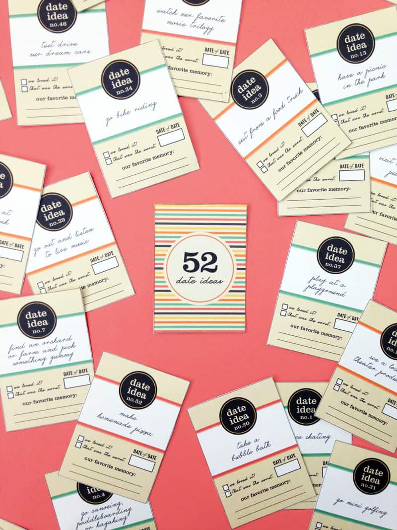 DIY 52 Date Ideas Card Deck - Free printable!!