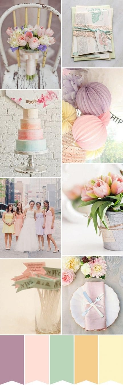 Choosing wedding colors & wedding color inspiration - pastel palette