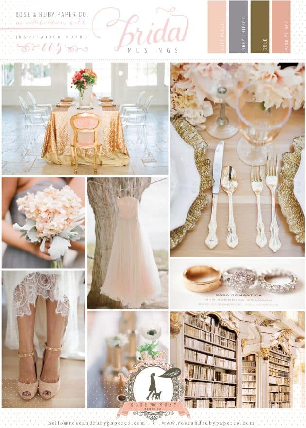 Choosing wedding colors - Inspiration blush and gold