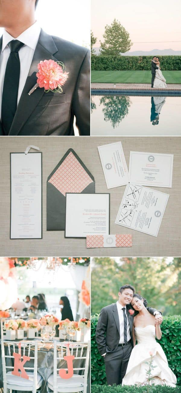 Choosing wedding colors & Wedding colors inspiration - grey & peach